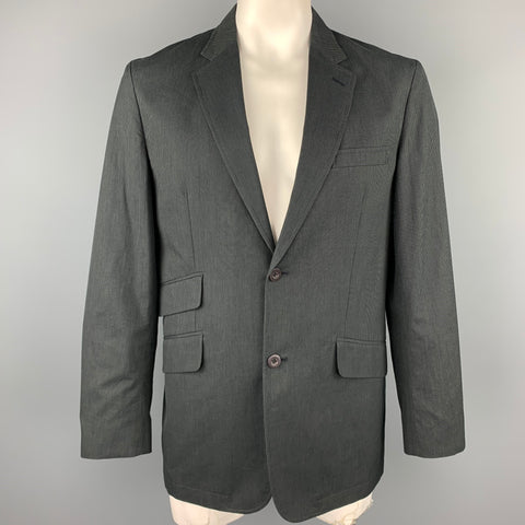 MATERIAL LONDON L Charcoal Pinstripe Cotton Notch Lapel  Sport Coat
