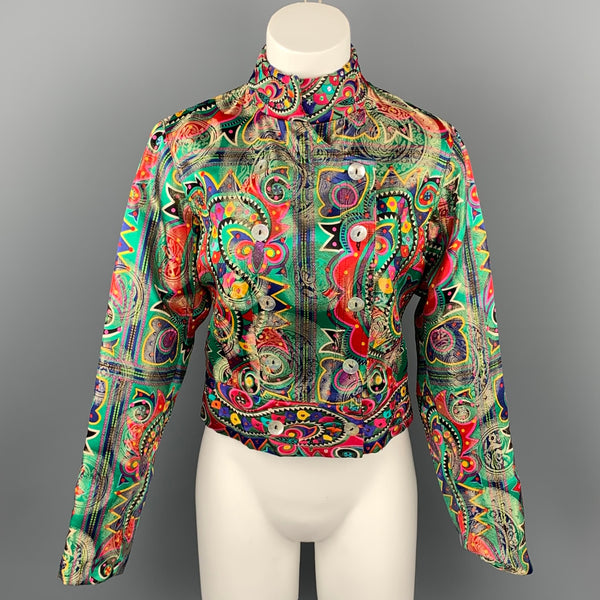 JOHN GALLIANO Size 4 Multi-Color Embroidered Abstract Silk Blend Double Breasted Jacket