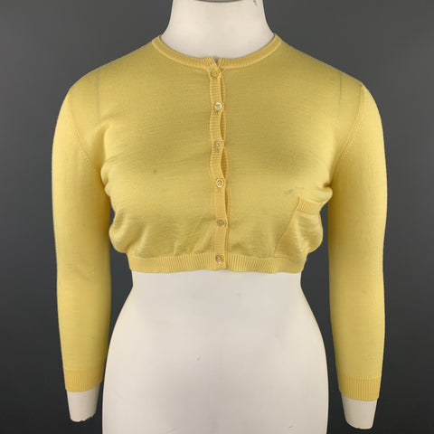 VALENTINO Size L Pastel Yellow Wool Blend Cropped Cardigan