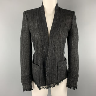 ISABEL MARANT Size 4 Black Tweed Open Front Fringe Jacket