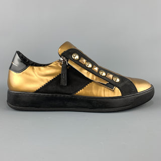Bruno Bordese Size 10 Gold Studded Leather Zip Sneakers