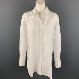 VINCE Size M White Poplin Eyelet Cotton Buttoned Blouse
