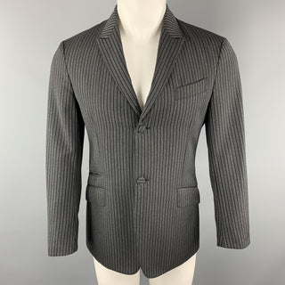 PRADA Size 38 Charcoal & Black Vertical Stripe Wool / Mohair Peak Lapel Sport Coat