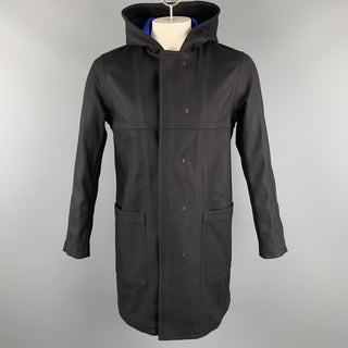 THEORY Size M Black Wool Blend Hooded Patch Pockets Hidden Buttons Coat
