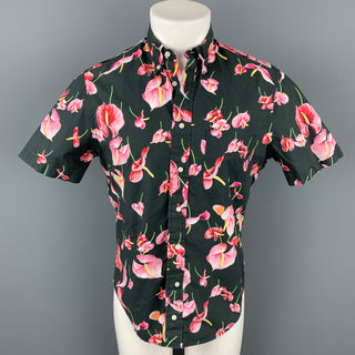 GITMAN VINTAGE Size M Black & Pink Floral Cotton Button Down Short Sleeve Shirt