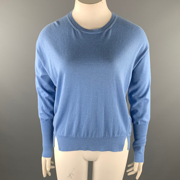 GIORGIO ARMANI Size 12 Light Blue Cashmere Slit Pullover Sweater