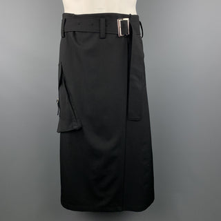 Y's by YOHJI YAMAMOTO Size L Black Wool Skirt Overlay Gathered Waist Shorts