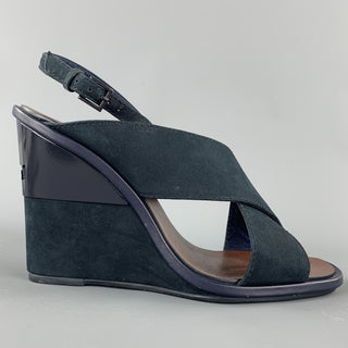 TORY BURCH Size 7 Navy Suede Criss Cross Strap Wedges