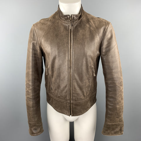 ARMANI JEANS Size S Brown Leather Zip Up Distressed Jacket