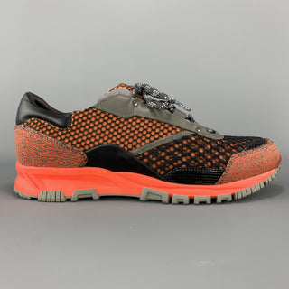 LANVIN Size 7 Orange MIxed Mesh Reflective Sneakers