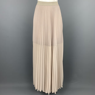 BCBGMAXAZRIA Size S Ivory Polyester Pleated Maxi Skirt