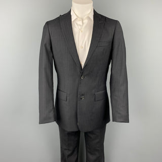 JOHN VARVATOS * U.S.A. Size 38 Regular Black Stripe Wool Peak Lapel Suit