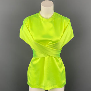 SIES MARJAN S/S 17 Size 4 Neon Yellow Satin Triacetate Wrap Around Nikki Top