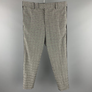 PAUL SMITH Size 32 Black & White Plaid Polyester Zip Fly Dress Pants