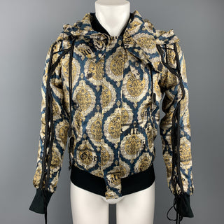 JOHN GALLIANO Size 36 Gold & Teal Newspaper Print Silk Bomber Jacket