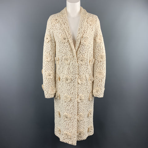 CHLOE Size 4 Cream Lace Faux Pearl Flower Notch Lapel Evening Coat