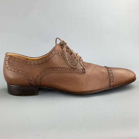 BALLY Size 10.5 Brown Perforated Leather Cap Toe Lace Up Shoes