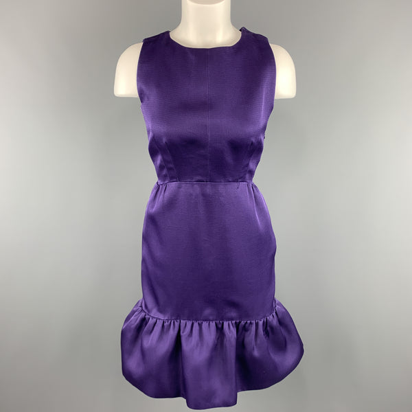 BALENCIAGA Size 6 Purple Silk Sleeveless Ruffle Skirt Sheath Cocktail Dress