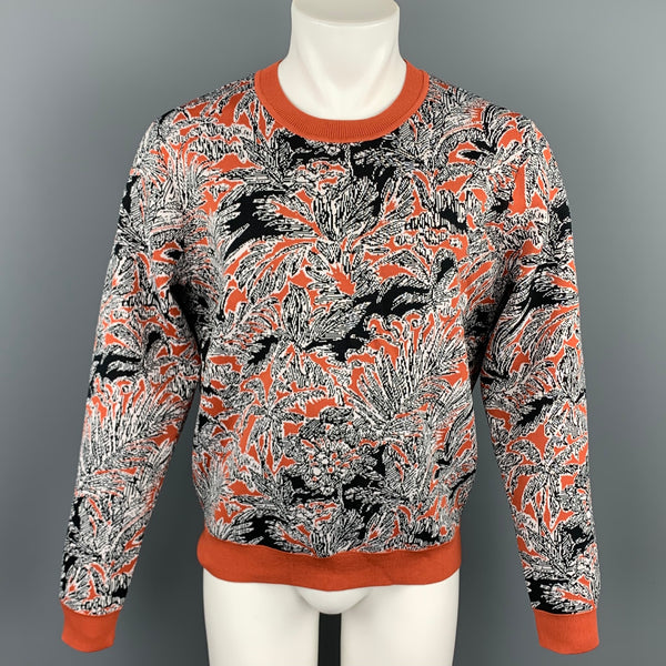 3.1 PHILLIP LIM Rust & Black Palm Tree Jacquard Polyester Blend Crew-Neck Pullover