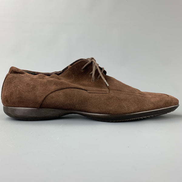 PAUL SMITH Size 10 Brown Suede Square Toe Lace Up Shoes