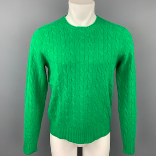 POLO by RALPH LAUREN Size S Green Cable Knit Cashmere Crew-Neck Sweater