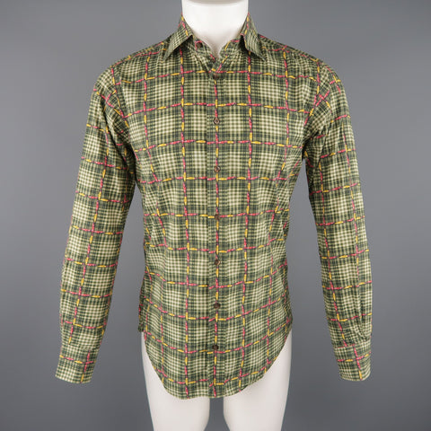 ETRO Size S Green Plaid Cotton Button Up Long Sleeve Shirt