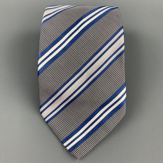 ERMENEGILDO ZEGNA Blue & White Diagonal Stripe Silk / Cotton Tie