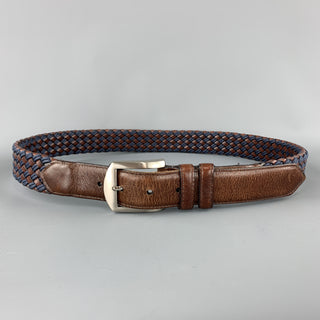 ALLEN EDMONDS Size 36 Woven Brown & Blue Leather Silver Tone Buckle Belt