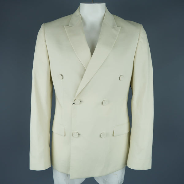 CALVIN KLEIN COLLECTION 42 Bone Cotton Double Breasted Sport Coat Jacket
