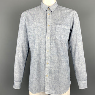 OUR LEGACY Size 42 Blue Chambray Hemp Blend Long Sleeve Shirt
