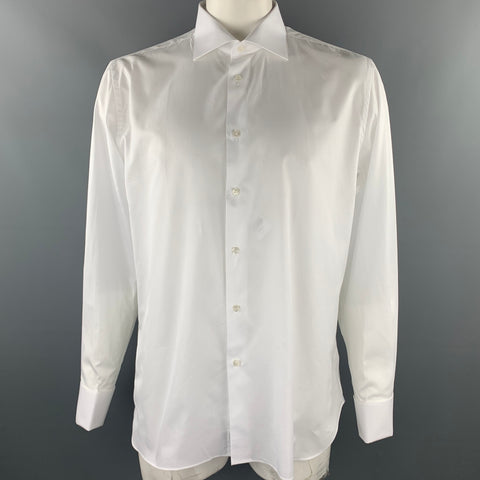 UMAN Size XL White Cotton French Cuff Long Sleeve Shirt