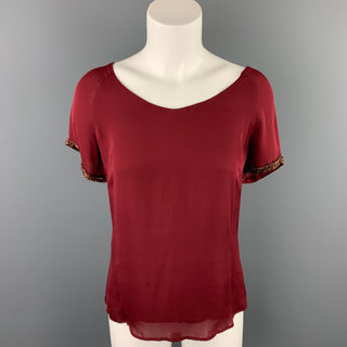 REBECCA MINKOFF Size 4 Burgundy Beaded Silk Blouse