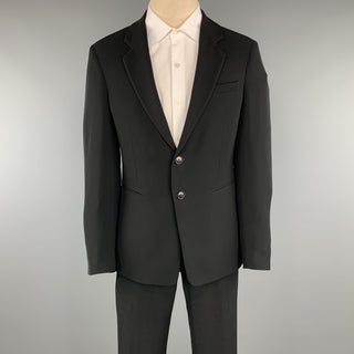 EMPORIO ARMANI 38 Regular Black Solid Polyester 32 x 31 Suit