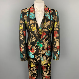 DOLCE & GABBANA F/W 19 Size 42 Black & Multi-Color Brocade Acetate Blend 3 Piece Suit