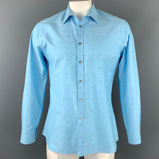 PAUL SMITH x BARNEYS NEW YORK Size L Light Blue Dots Cotton Button Up Long Sleeve Shirt