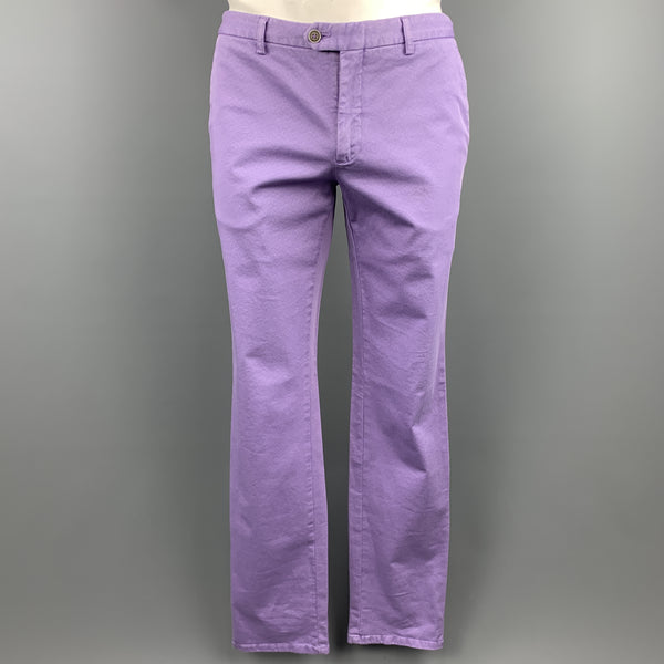 ETRO Size 34 x 34  Print Lavender Cotton Blend Zip Fly Casual Pants