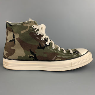 CONVERSE x CARHARTT WIP Chuck 70 Size 10.5 Olive & Black Camouflage Canvas High Top Sneakers
