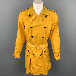 EMPORIO ARMANI David Line Size 38 Yellow Polyester Epaulettes Belted Double Breasted Trenchcoat