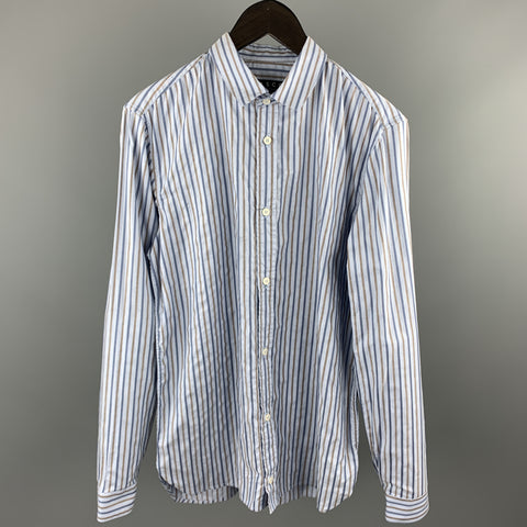 BASCO Size M Navy & Brown Stripe Cotton Button Up Long Sleeve Shirt