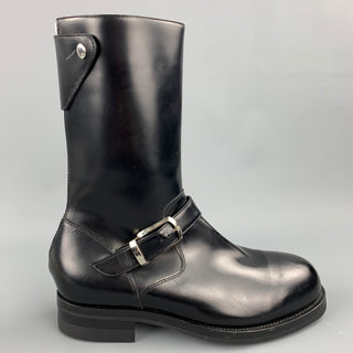 PAUL SMITH Size 9 Black Leather Biker Boots