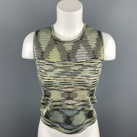 M MISSONI Size 4 Green Knitted Wool / Acrylic Sleeveless Top