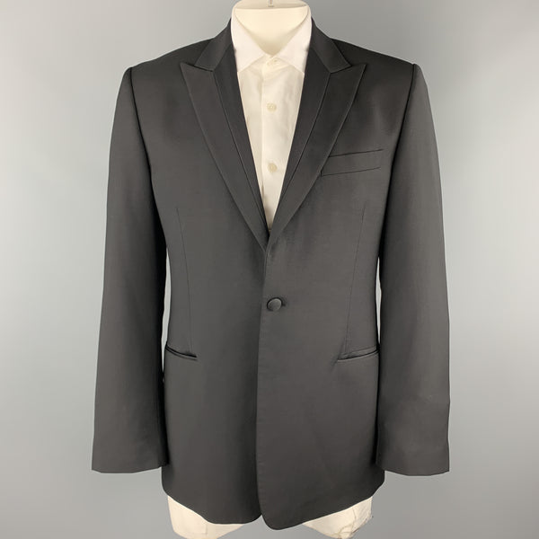 PAUL SMITH Size 42 Black Wool / Mohair Faille Detailed Peak Lapel Sport Coat