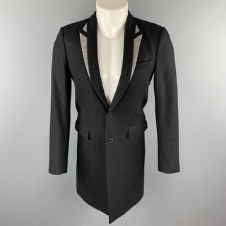 DIOR HOMME Size 36 Black & Grey Wool / Polyamide Peak Lapel Coat