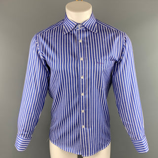 PAUL SMITH Size L Blue & White Stripe Cotton Button Up Long Sleeve Shirt