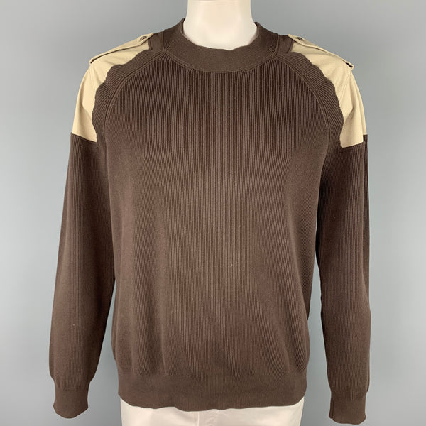 MAISON MARGIELA Size XXL Brown & Khaki Knitted Cotton Epaulettes Sweater