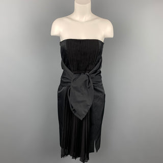 GIAMBATTISTA VALLI Size 6 Black Pleated Cotton / Silk Wide Waist Tie Cocktail Dress