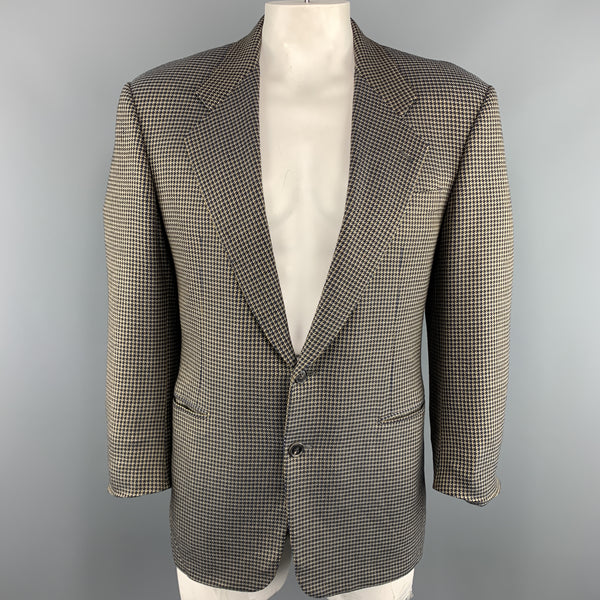 BELVEST 40 Brown & Navy Houndstooth Wool Notch Lapel  Sport Coat