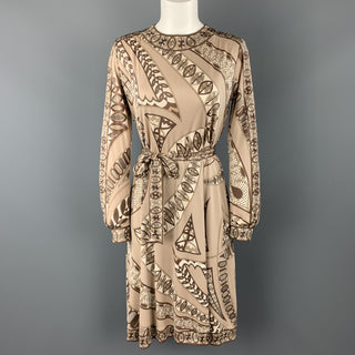 EMILIO PUCCI Vintage Size 8 Taupe Print Silk Long Sleeve Shift Dress