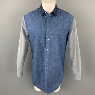 LEVI'S MADE & CRAFTED Size S Indigo Mixed Fabrics Cotton Oversized Long Sleeve Shirt