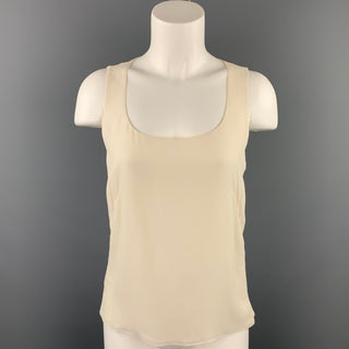 AKRIS Size 6 Cream Chiffon Silk Scoop Neck Sleeveless Blouse